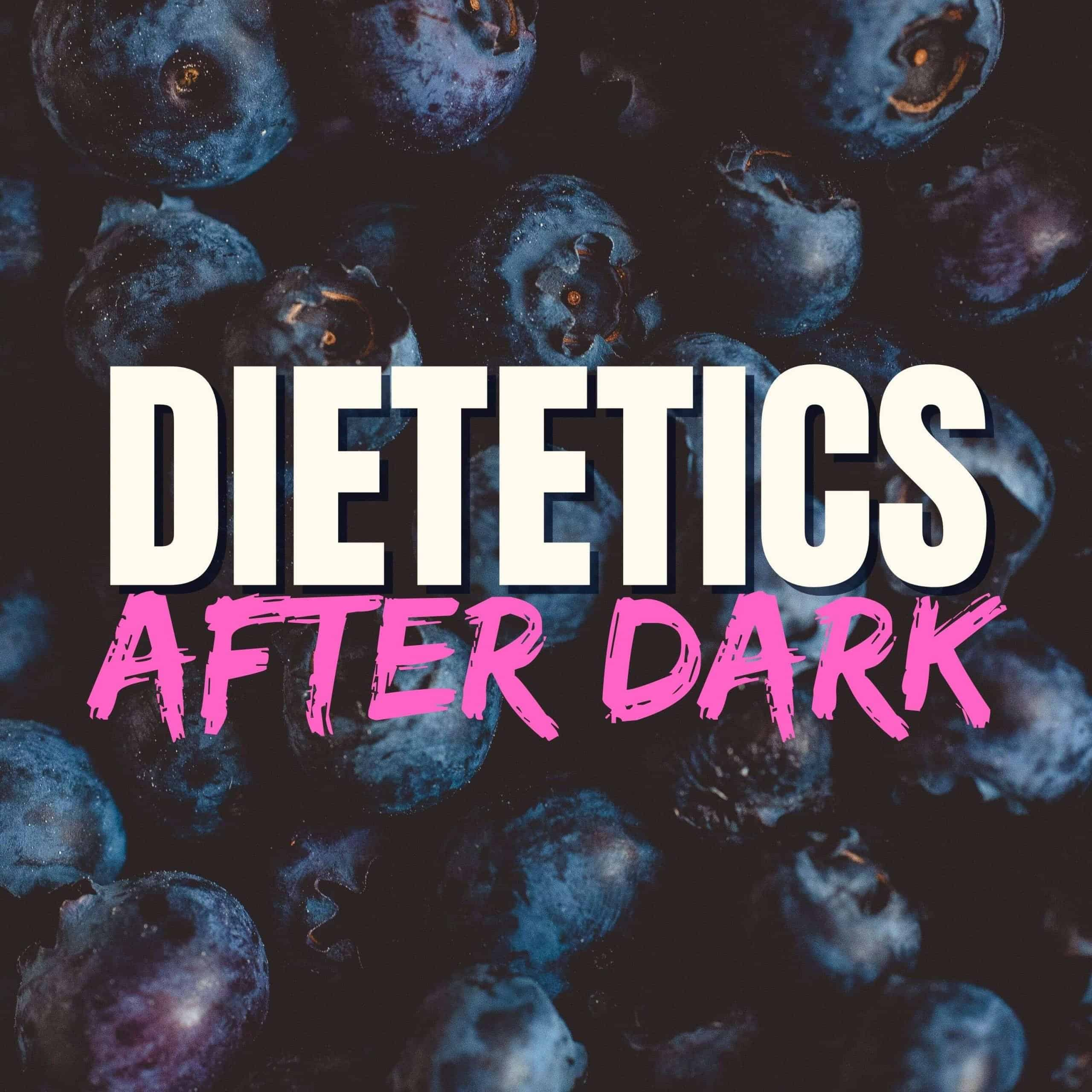 Dietetics After Dark cover art with blueberry background