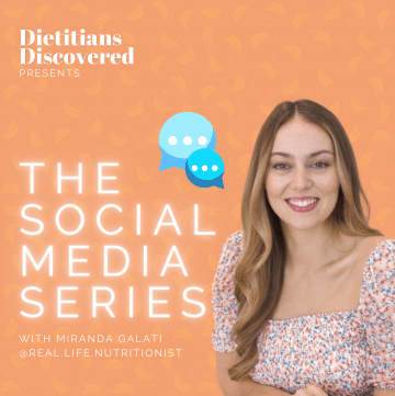 Miranda Galati over an orange background for dietitians discovered
